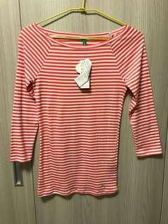 🚚 Benetton橘紅白條紋七分袖上衣