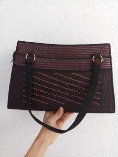 Rattan Handbag with small Rattan Pouch