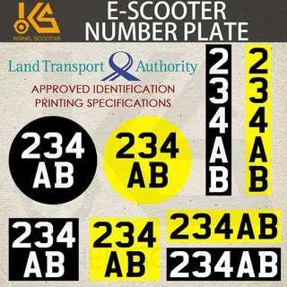 🚚 Escooter Registration Identification Number plate sticker for LTA registered electric scooter