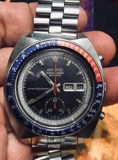 Vintage Seiko 6139-6002 Pogue Resist Pepsi Bezel moon watch