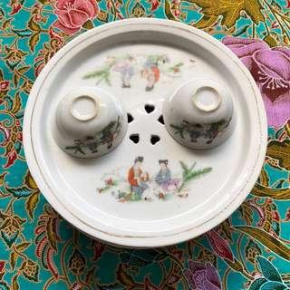 Tea Rinse Bowl And 2 Cups