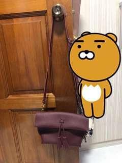korean maroon sling bag