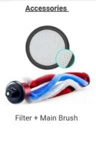 Replacement Accessories for Spartan S10 Cordless Vacuum - 1 FILTER + ROLLERBRUSH
