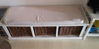 Euro Design Shoe Bench w Cushion n 3 Baskets