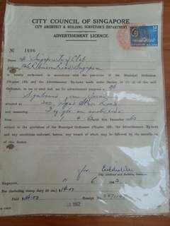 1962 Singapore City Council old document