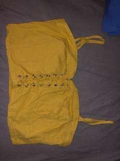 Glassons linen crop top yellow