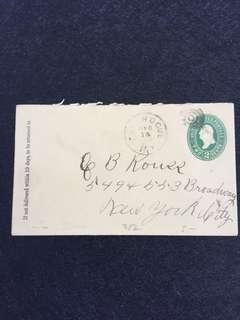 US 1892 2c Green U311 Stamped Envelope, Patchogue to New York City