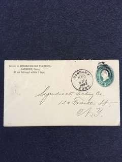 US 1893 2c Green U311 Stamped Envelope, Rogers Silver Plate Co, Danbury Connecticut to New York