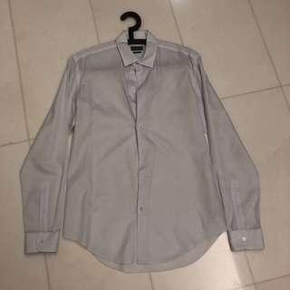 Zara Man Slim Fit Long Sleeve Shirt - White (Size L)