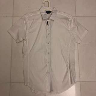Zara Man Super Slim Fit Short Sleeve Shirt - White (Size XL)