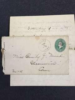 US 1890 2c Green U311 Stamped Envelope + Letter, Kent to Greenwich Connecticut