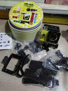 新款 高清1080P 極限運動相機 攝影機(黃色一台) 行車記錄器 30米防水