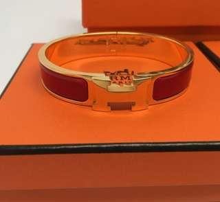 🍊🍊Hermes Red Clic Clac in Gold Hardware Size PM - Full Set with receipt
