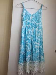 Blue and white Bali dress