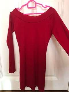 Red long sleeved dress