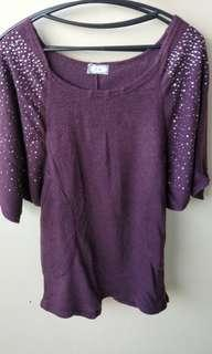 🚚 紫色肩鑽長版衣