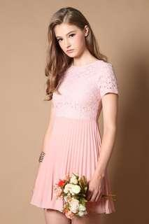 Calista Eyelet Pleats Dress in Sweet Pink