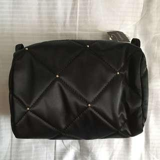 Topshop black stud quilted padded makeup pouch
