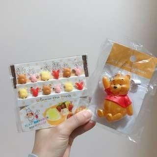 東京迪士尼小熊維尼發光扣針 牙簽