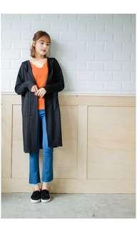 Black Long Sleeve Hooded Tunic Cardigan