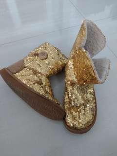 Winter Boots with Gold Glitter for Girls