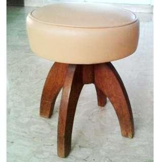 Vintage 60s Rocket Stool Solid Teak Base and Reupholstered Seat Cushion  Ø34cm Ht 42cm