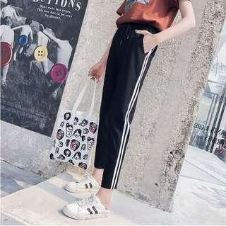Instock Black Two White Stripe Long Pants