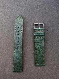 Watch Gecko 20mm green leather watch strap