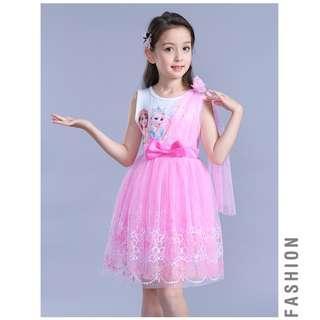 Princess Frozen Dress Ribbon Bow Pink