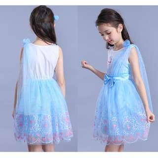 Princess Blue Frozen Dress Ribbon Bow