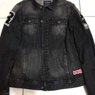 PULL&BEAR 水洗黑 徽章 牛仔外套