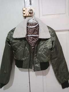 Imported Cropped Top Bomber Jacket x Army Green