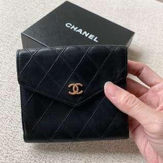 AUTHENTIC CHANEL Calfskin Compact Short Wallet Purse