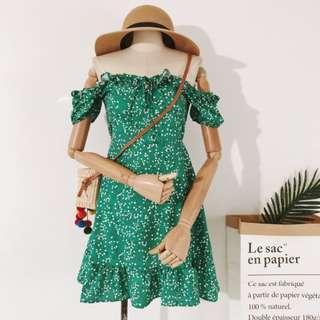 Green Forest Floral Off Shoulder Dress