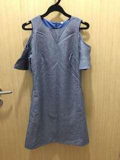 Cut-Out Grey Demin Dress