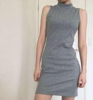 Grey Mock Neck Dress