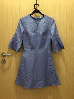3/4 sleeves blue denim dress