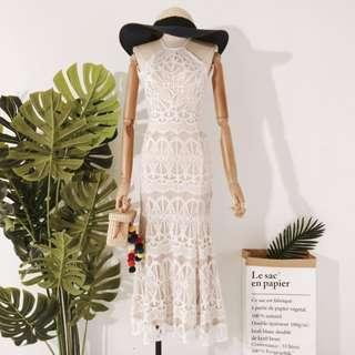 White Dreamy Crossback Crochet Dress