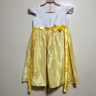 Yellow White Gown/Dress for Kids