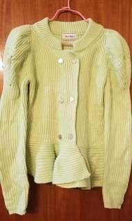 🈹❣️企領 荷葉腳 蘋果綠 針織冷外套 Apple green knitted sweater