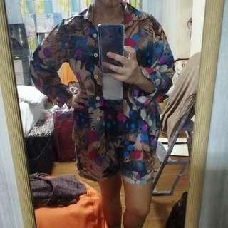 Modern office blouse and shorts M