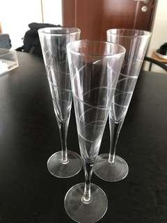 Champagne glasses 3pcs with frosted design