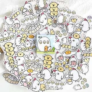 🚚 45pcs stickers Mummy Chicken and her baby chicks set