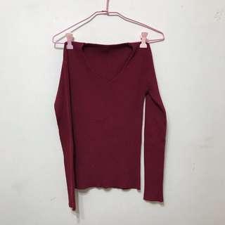🚚 紅色舒服貼身細針織上衣