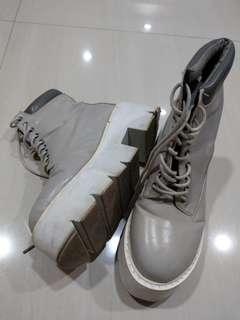Gray Platform highcut boots