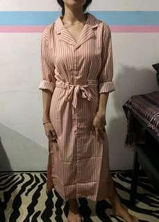 Dress peach strips hitam TURUN HARGAAAAA