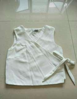 Brand new White Crop wrap Top size small