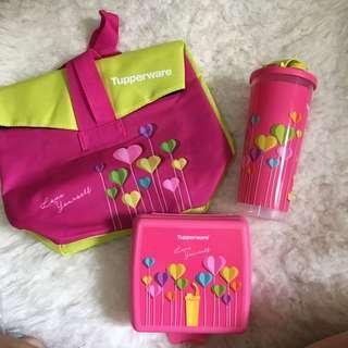 Tupperware girls trendy set, tumbler mug lunch box and a bag