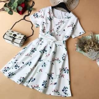 White Floral Tie-Ribbon Dress