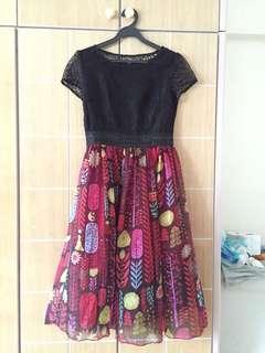 Brand New Without Tags Black Classic Lace Red Chiffon Midi Dress